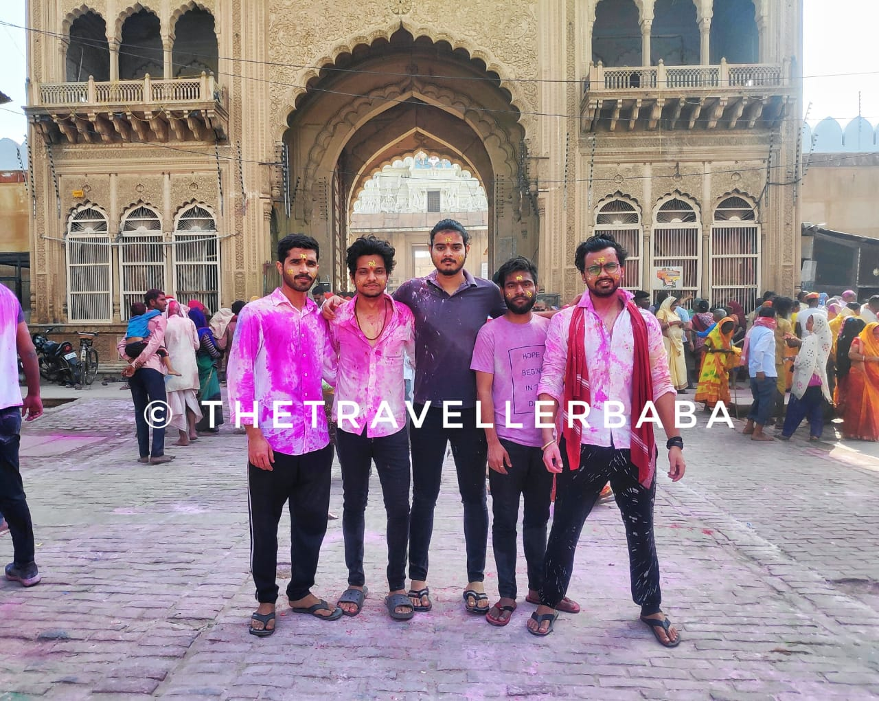 We friends playing Holi on the streets of Mathura